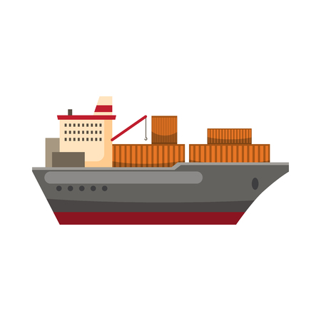 outdoor goods: Cargo ship icon in cartoon style on a white background