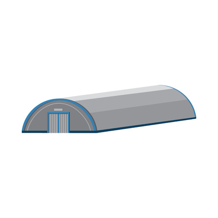 hangar: Hangar building icon in cartoon style on a white background