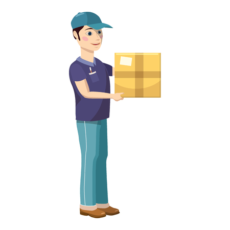 cardbox: Delivery man holding and carrying a cardbox icon in cartoon style on a white background