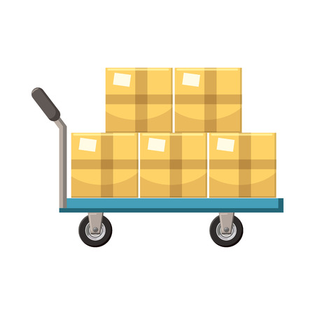 hand cart: Hand cart with cardboards icon in cartoon style on a white background