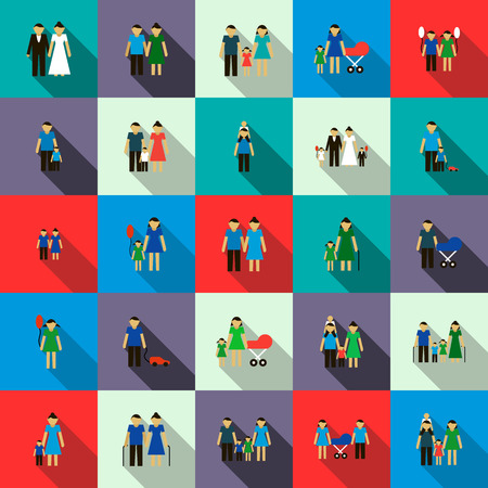 father and son holding hands: Family set icons in flat style isolated on white background