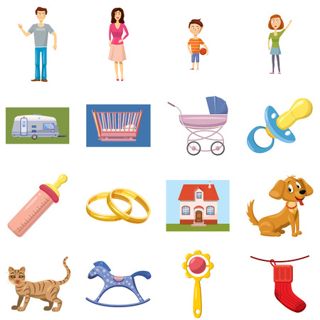 family isolated: Family set icons in cartoon style isolated on white background
