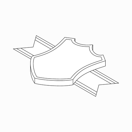 honour guard: Shield with ribbon icon in isometric 3d style on a white background