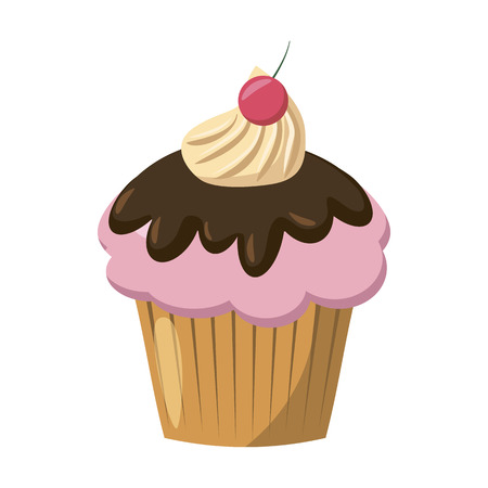icing: Cherry cupcake with chocolate icing icon in cartoon style isolated on white background