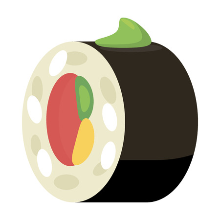 Sushi roll icon in cartoon style isolated on white background