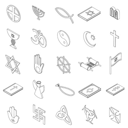 3d om: Religious symbols icons set in isometric 3d style on a white background