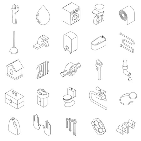sanitary engineering: Sanitary engineering icons set in isometric 3d style on a white background