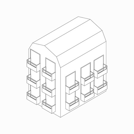 lowrise: Low-rise building with balconies icon in isometric 3d style isolated on white background