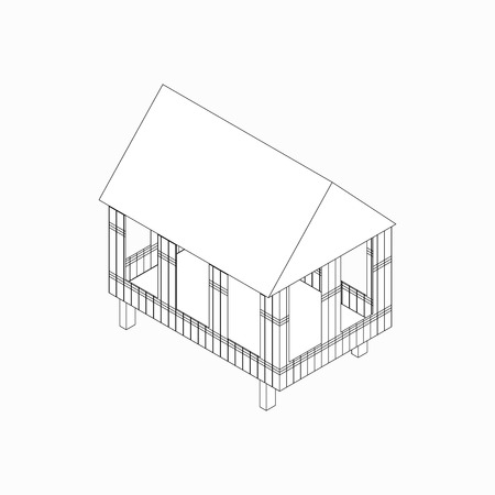 stilt: House made of bamboo on stilts icon in isometric 3d style isolated on white background