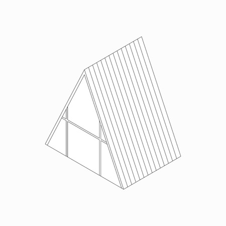 3d bungalow: Wickiup house icon in isometric 3d style isolated on white background Illustration