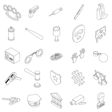 theft proof: Crime icons set in isometric 3d style on a white background