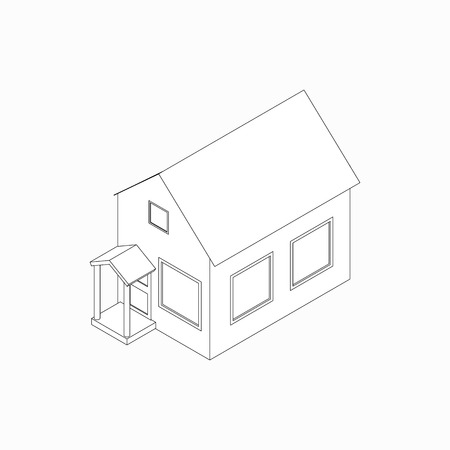 english village: Bungalow with porch icon in isometric 3d style isolated on white background