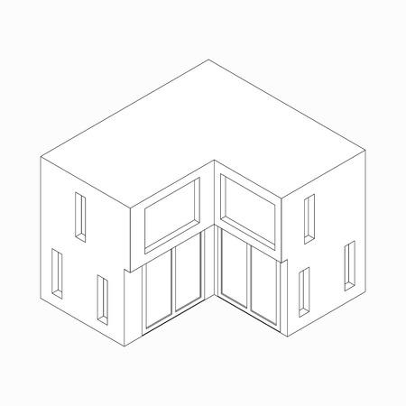 maisonette: Maisonette icon in isometric 3d style isolated on white background