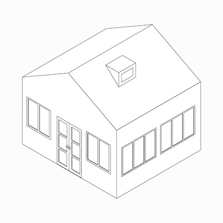 detached: Big detached house icon in isometric 3d style isolated on white background