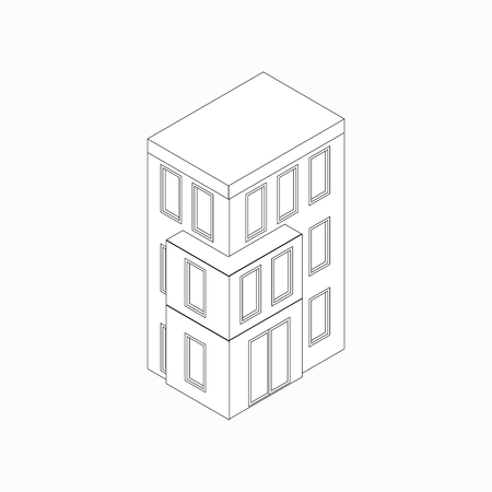 lowrise: Low-rise building icon in isometric 3d style isolated on white background. Three-storied house