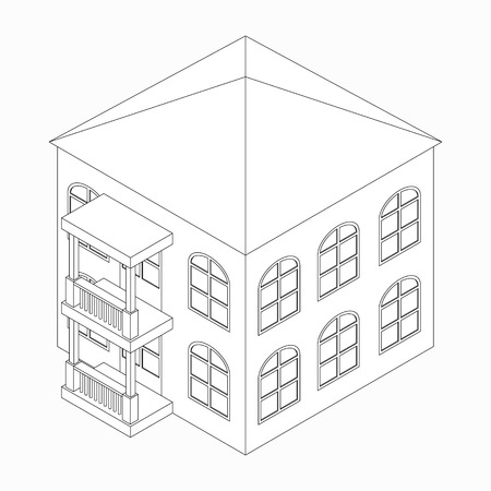 lowrise: Low-rise building with porch icon in isometric 3d style isolated on white background