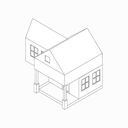 detached house: Detached house with porch icon in isometric 3d style isolated on white background