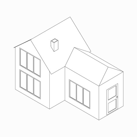 3d bungalow: House with detached entrance icon in isometric 3d style isolated on white background