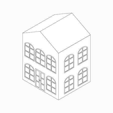 arched: Apartment building with arched windows icon in isometric 3d style isolated on white background