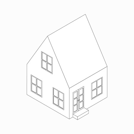english village: Two-storied cottage with a sloping roof icon in isometric 3d style isolated on white background