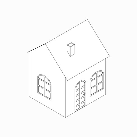 english village: Little house with pipe icon in isometric 3d style isolated on white background