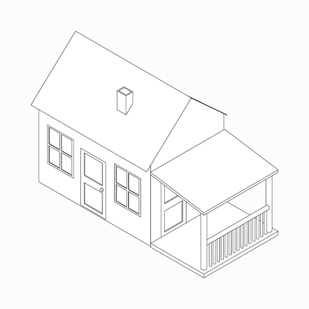 english village: Cottage with porch icon in isometric 3d style isolated on white background