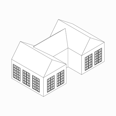 english village: Semi-detached house icon in isometric 3d style isolated on white background Illustration
