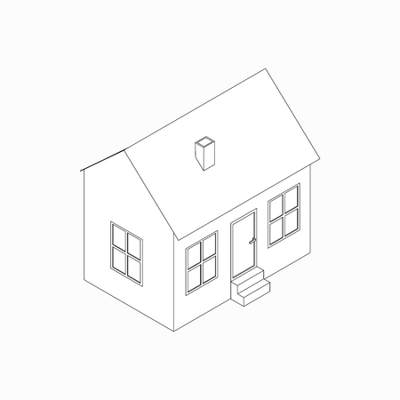 architecture bungalow: Bungalow with pipe icon in isometric 3d style isolated on white background Illustration