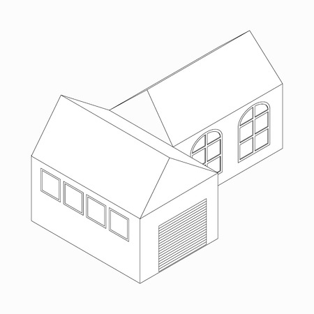 detached: Detached house with garage icon in isometric 3d style isolated on white background