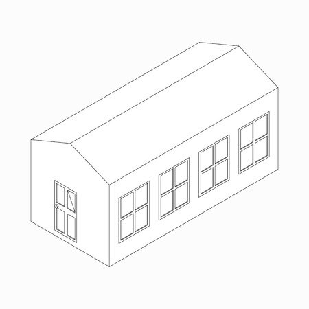 lowrise: Low-rise long building icon in isometric 3d style isolated on white background Illustration