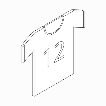 number 12: Sports shirt with number 12 icon in isometric 3d style on a white background