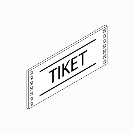 sporting event: Ticket icon in isometric 3d style on a white background