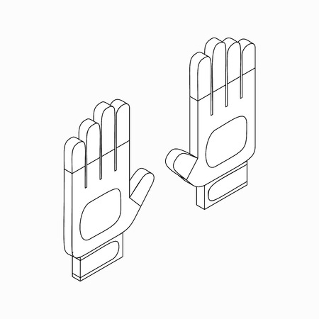 wadded: White sport gloves icon in isometric 3d style on a white background Illustration