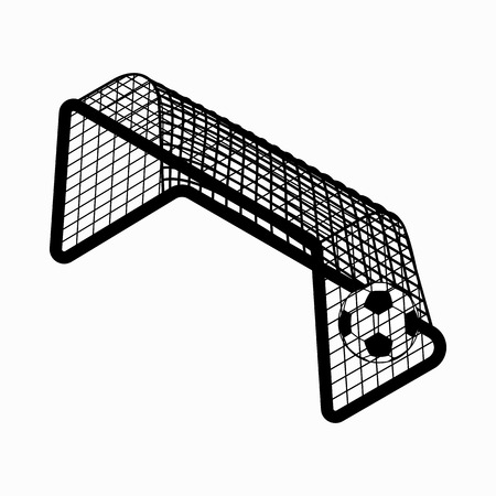 Soccer goal with ball icon in isometric 3d style on a white background