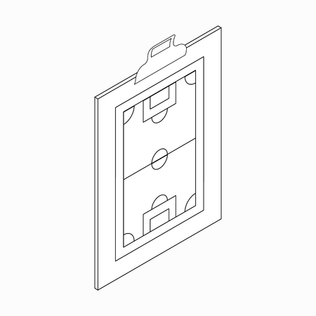 tactic: Clipboard with soccer tactic icon in isometric 3d style on a white background Illustration