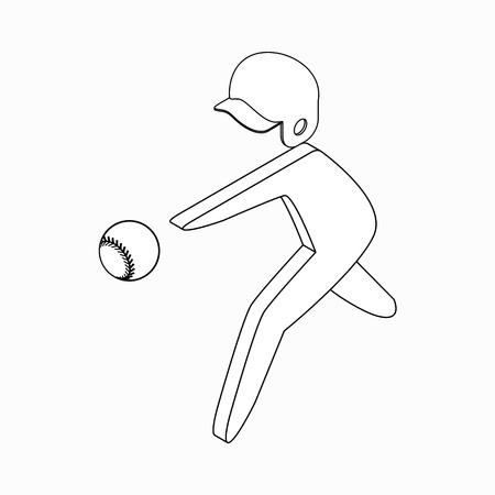 ballplayer: Baseball player icon in isometric 3d style on a white background