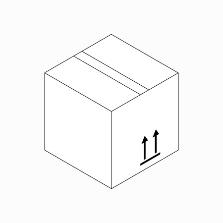 this side up: This side up packaging symbol on cardboard icon in isometric 3d style isolated on white background