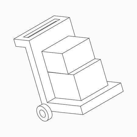hydraulic platform: Manual loader icon in isometric 3d style isolated on white background Illustration