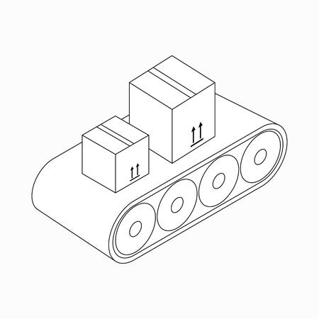 Transportband met dozen icoon in isometrische 3D-stijl op een witte achtergrond