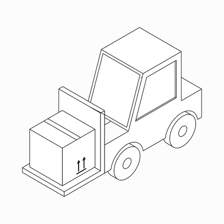 carrying box: Forklift truck carrying box icon in isometric 3d style isolated on white background Illustration