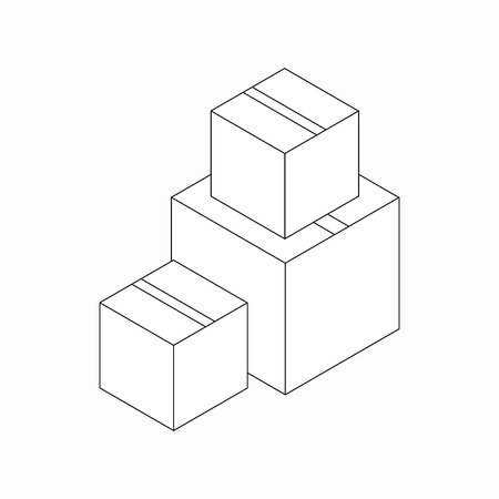 distribution board: Stack of cardboard boxes icon in isometric 3d style isolated on white background
