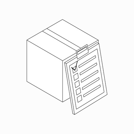 Delivery box with checklist icon in isometric 3d style isolated on white background