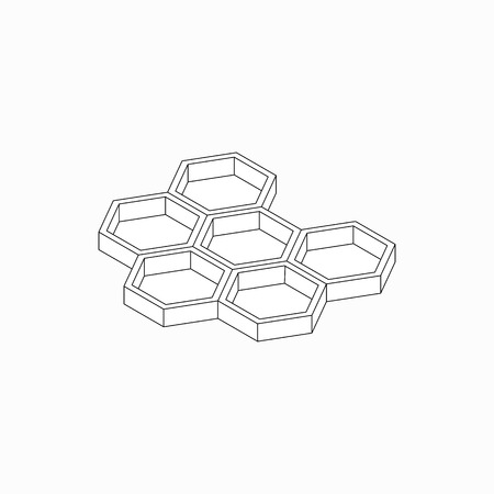 mead: Honey cells icon in isometric 3d style isolated on white background Illustration