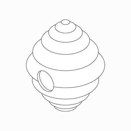mead: Hanging beehive icon in isometric 3d style isolated on white background