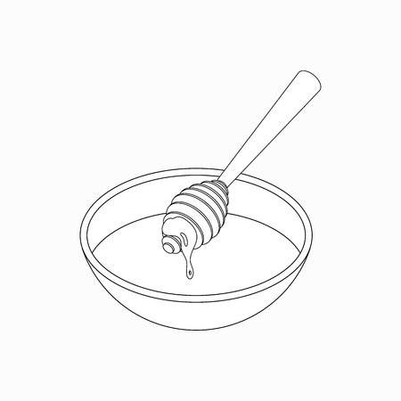 dipper: Honey dipper with honey over a bowl icon in isometric 3d style isolated on white background
