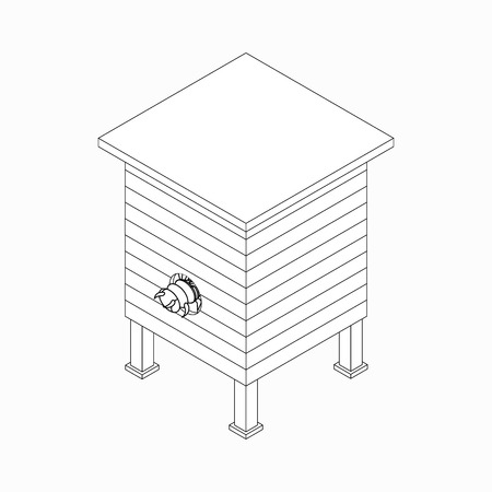 apiculture: Beehive with bee icon in isometric 3d style isolated on white background