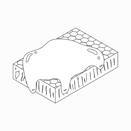 mead: Honeycomb icon in isometric 3d style isolated on white background Illustration