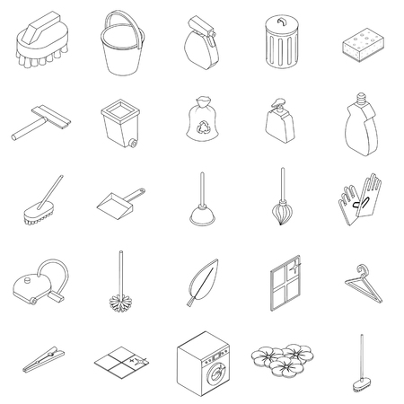protective glove: Cleaning icons set in isomeric 3d style isolated on white Illustration