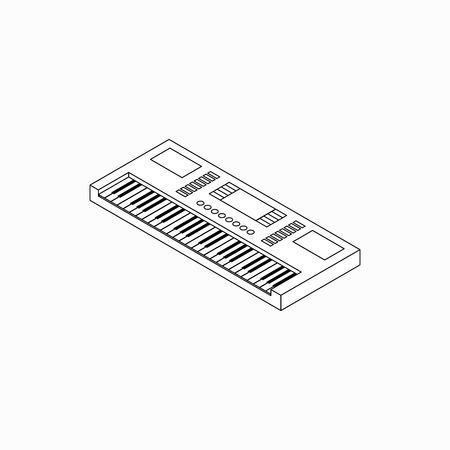 Synthesizer icon in isometric 3d style isolated on white background Illustration