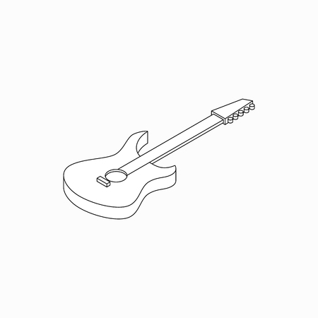 hardrock: Bass guitar icon in isometric 3d style isolated on white background